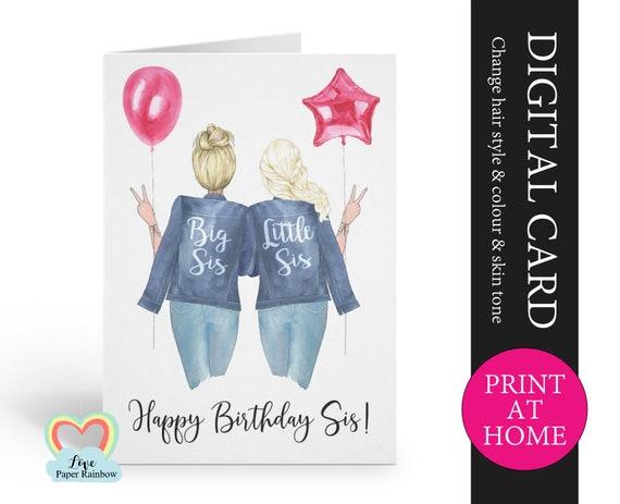 big sister birthday card printable customizable little sister birthday card personalized sister birthday little sister birthday digital pdf