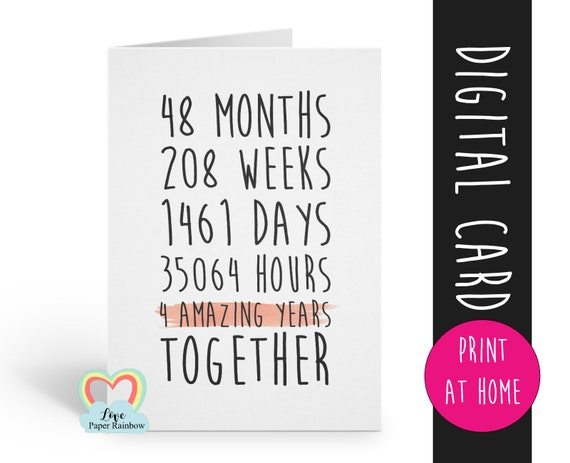 PRINTABLE 4th wedding anniversary card, 4th anniversary card, 4 years together, 4 amazing years, lesbian anniversary card, gay anniversary