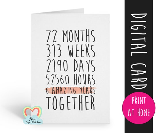 PRINTABLE 6th anniversary card, 6th wedding anniversary card, 6 years together, 6 amazing years, gay anniversary card, lesbian anniversary