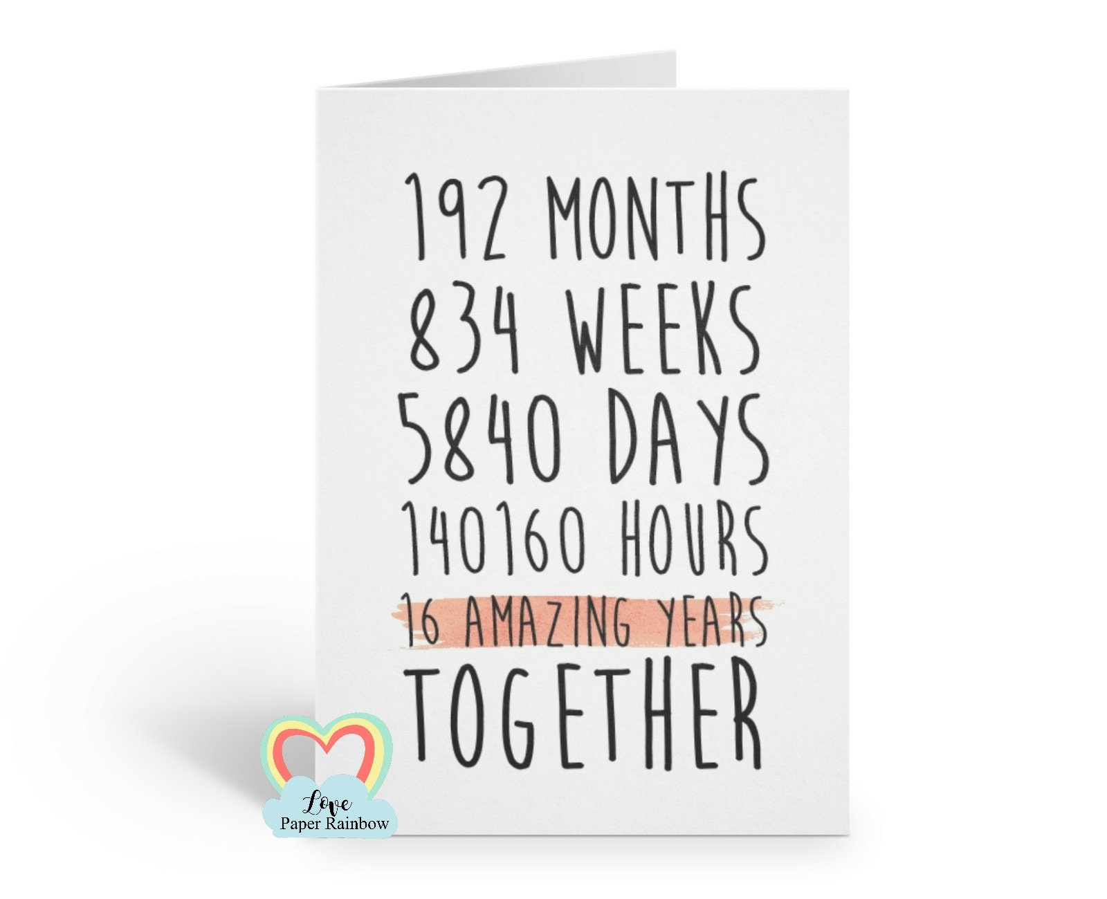 16th Wedding Anniversary.16th Anniversary Card 16th Wedding Anniversary Card 16 Amazing