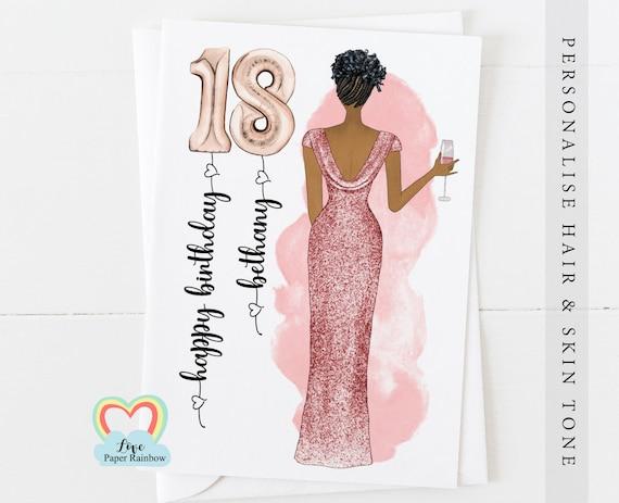 black woman 18th birthday card, afro birthday card, black Caribbean birthday card, 18th birthday gift, African birthday, personalised 18