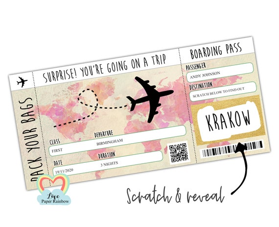surprise trip scratch card birthday gift boarding pass holiday anniversary gift for her Krakow boarding pass plane ticket disneyland