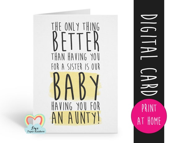 PRINTABLE pregnancy announcement instant download you're going to be an aunty pregnancy reveal digital download love paper rainbow