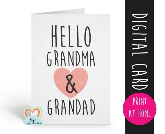 PRINTABLE pregnancy announcement hello grandma and grandad you're going to be grandparents instant download i'm pregnant love paper rainbow
