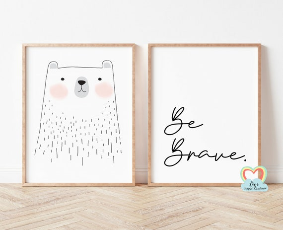 be brave nursery print, bear nursery print, black and white nursery prints, nursery quote, baby girl gift, be brave bear, simple nursery art