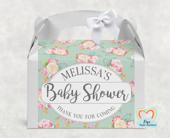 BABY SHOWER Personalised floral White Box Celebration Party Gift Favour Box Treat Sweet Cake Christening Baptism afternoon tea