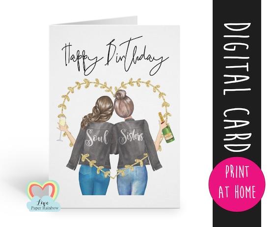 sister birthday card printable | best friend birthday card printable | personalised sister card | custom best friend card | digital card