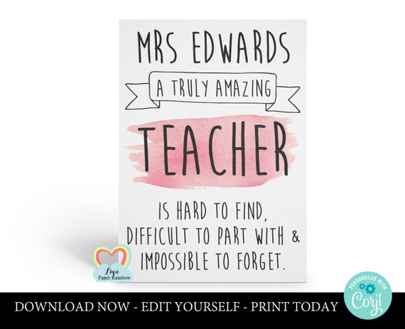 personalized teacher card printable teacher retirement instant download a truly amazing teacher is hard to find difficult to forget