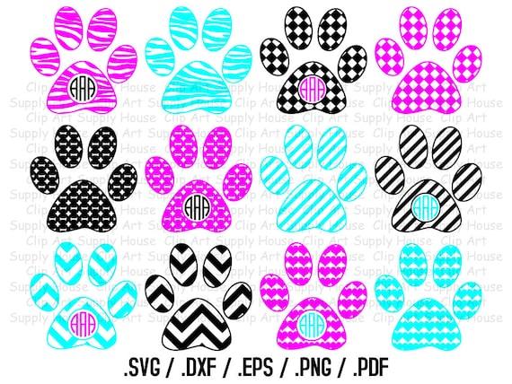 Paw Prints Monogram Svg: Paw Print Monogram Frame SVG Cut Files For Vinyl Cutters