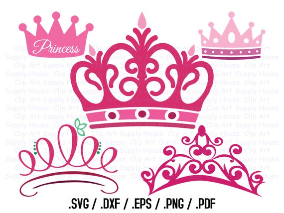 Princess Crown Clipart Design File SVG Clipart Crown Wall | Etsy