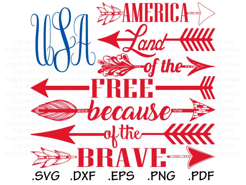Usa Flag Svg Land Of The Free Because Of The Brave Clipart Etsy