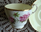 Paragon Fine Bone China England - Vintage Tea Cup and Saucer - Pale Yellow Center, Pink Flowers with Brushed Gold Trim
