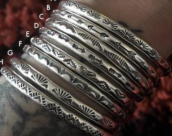Individual Stamped Sterling Stacker Cuffs- Silver Cuff Bracelets- Hand Stamped