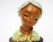 True ART DECO GOLDSCHEIDER Wien Austria Majolica Terracotta Art Deco Yung Girl Bust Excellent Condition