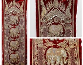 Antique Thai Burmese KALAGA Elephants High Relief Sequined Beaded Embroidery Vertical Tapestry 55 quot Long