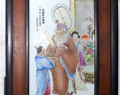 Antique Chinese Famille Rose Hand Painted Porcelain Tile Scenic Panel Plaque With Characters Script Seals Framed