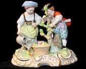 Antique SAXONY GERMAN Carl Thieme Potschappel Hand Painted Porcelain Garden Scene Figurine