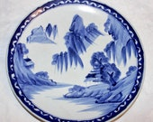 Late Edo Fine Japanese KO-IMARI Arita Kiln Blue White Sometsuke Platter