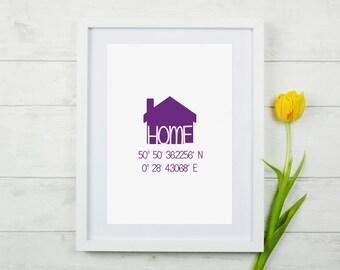 Home - Personalised/Custom Latitude & Longitude Print