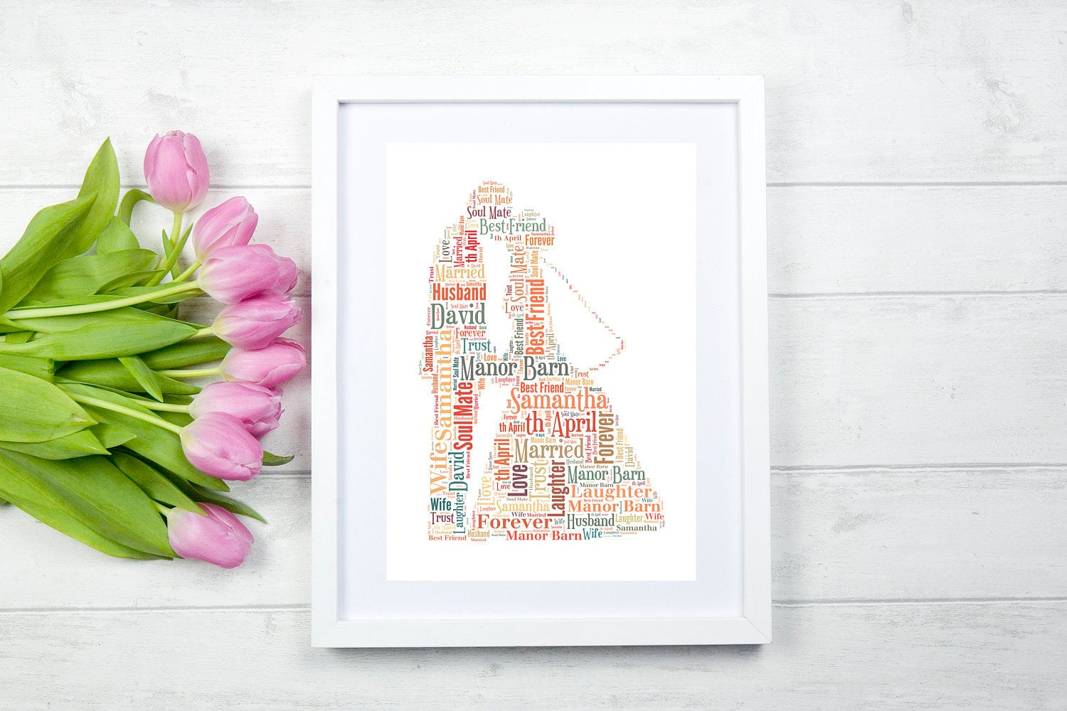 Personalised 1st Wedding Anniversary Gifts: Personalised Wedding Couple Word ArtWedding Gift1st