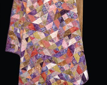 """Eggplant Relish Quilt Pattern by Madison Cottage - Fat Quarter or 2 1/2"""" Strip Set Friendly Scrappy Pattern"""