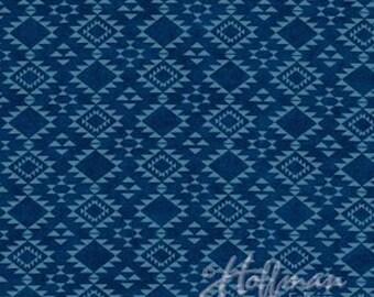 Sale! Hoffman Fabrics - Cayenne Southwest Denim Blue / Blue and Dark Blue Western Geometric Fabric