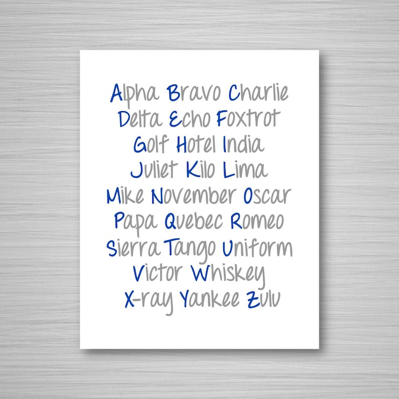 picture relating to Phonetic Alphabet Printable called Phonetic Alphabet Printable Artwork - Army and Grey Nautical Electronic Down load Wall Artwork - Nautical Printable - 5x7 or 8x10 Alphabet Artwork