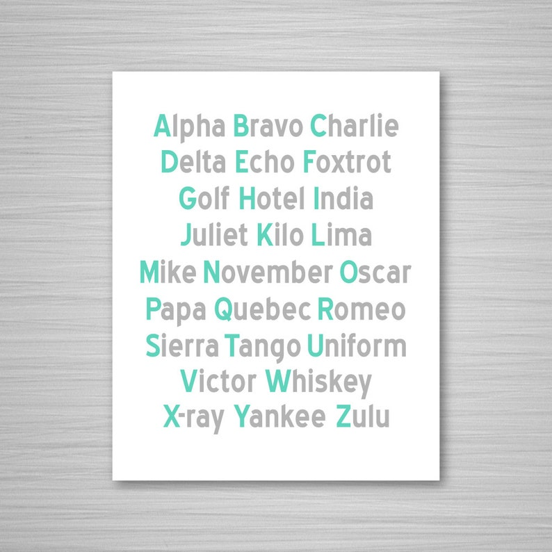 graphic regarding Phonetic Alphabet Printable identify Phonetic Alphabet Printable Artwork - Mint + Grey Aeronautical Electronic Down load Wall Artwork - Nautical Printable - 8x10 Alphabet Artwork Military services Air Strain