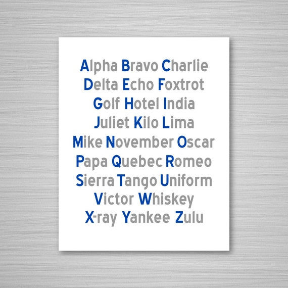 graphic relating to Phonetic Alphabet Printable titled Phonetic Alphabet Printable Artwork - Armed service + Grey Aeronautical Electronic Obtain Wall Artwork - Nautical Printable - 8x10 Alphabet Artwork Military services Air Strain