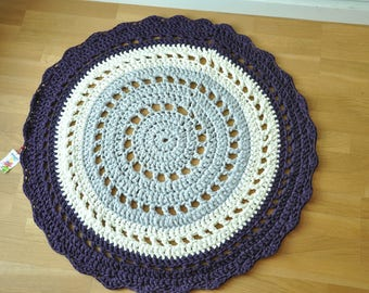 Large round crochet rug soft and thick, 100cm