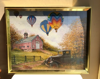 """Hot Air Balloons Over athe Farm - Framed Art - 20"""" x 16"""" - A Whinsical Take On The Old Farm"""