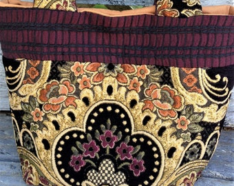 AMAZINGLY BOLD and BEAUTIFUL Tapestry handbag with double shoulder straps