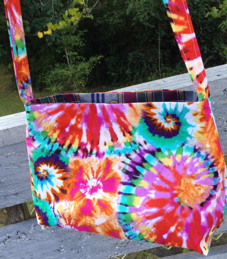 Rainbow colorful SWIRLS CROSSBODY BAG In Cotton
