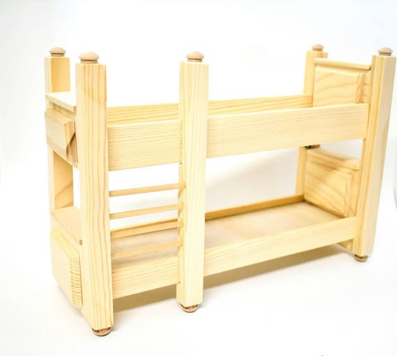 Doll Furniture Unfinished 1 6 Scale Bunk Bed Doll House Etsy