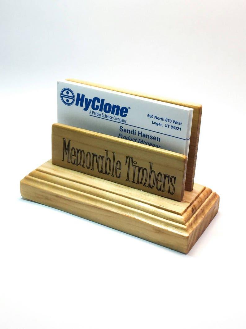Wooden business card holder for desk  Personalized business card holder,  Business card stand, Business card display, gift for boss