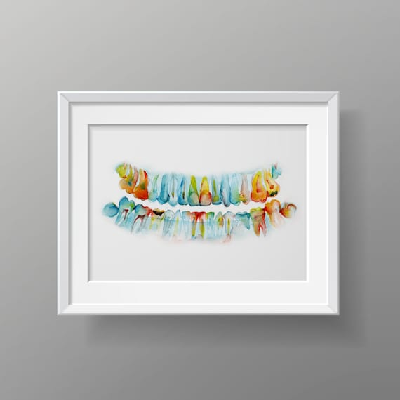 Pan X Ray Teeth Watercolor Art Print Dental Anatomy | Etsy