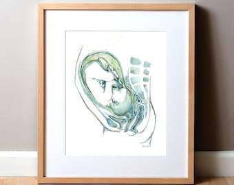 Fetal Anatomy Watercolor Print - Pregnancy Anatomy Art Print - OBGYN Anatomy Art Print - Fertility and Reproductive Print