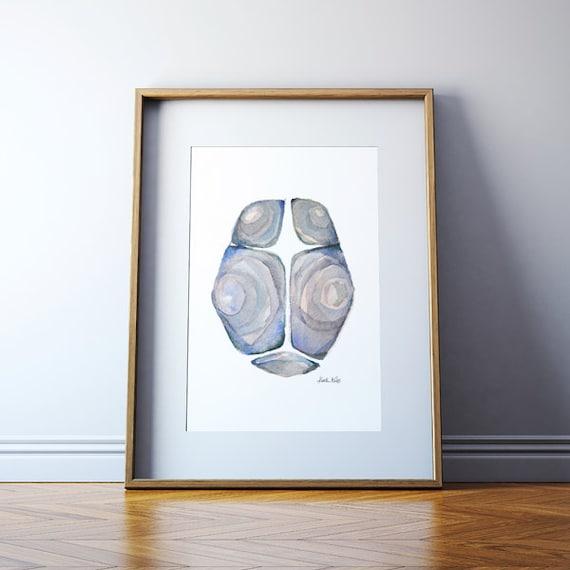 The Fontanels In Blue Gray Fontanel Watercolor Print Bones Etsy