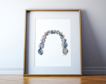 Mandibular Arch in Gray - Abstract Teeth Watercolor Print, Dental Art, Occlusal View of Mandibular Teeth
