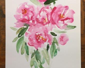 Bouquet of watercolor peonies