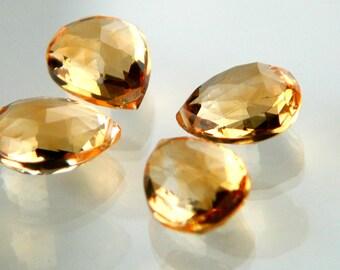 Citrine Faceted Almond Briolette 5mm x 7mm Semi-Precious Gemstones