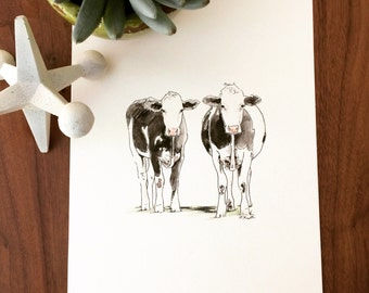 Cows Watercolor and Ink