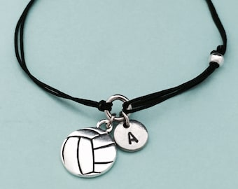 Volleyball cord bracelet, volleyball charm bracelet, adjustable bracelet, charm bracelet, personalized bracelet, initial, monogram