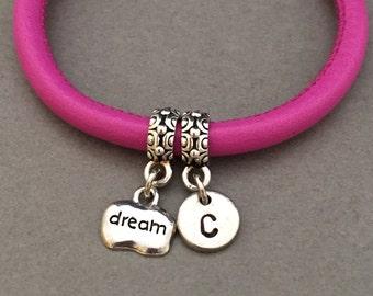 Dream leather bracelet, dream charm bracelet, leather bangle, personalized bracelet, initial bracelet, monogram