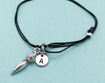 Pulsera de cordón de paraguas, paraguas encanto pulsera, pulsera ajustable, pulsera, inicial, monograma de pulsera personalizada,