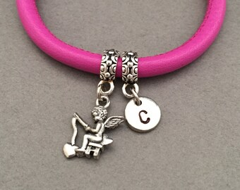 Cupid fishing leather bracelet, cupid fishing charm bracelet, leather bangle, personalized bracelet, initial bracelet, monogram