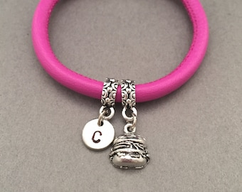 Hamburger leather bracelet, hamburger charm bracelet, leather bangle, personalized bracelet, initial bracelet, monogram