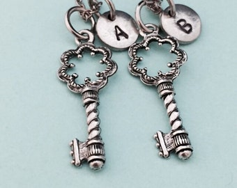Best friend necklace, key necklace, skeleton key necklace, bff necklace, sister, friendship jewelry, personalized, initial, monogram