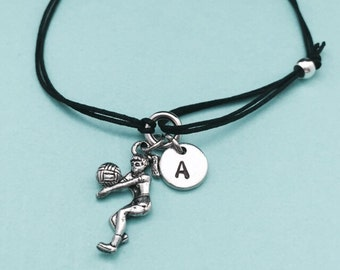 Volleyball player cord bracelet, volleyball player charm bracelet, adjustable bracelet, charm bracelet, personalized, initial, monogram