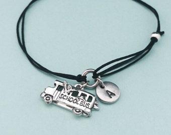 School bus cord bracelet, school bus charm bracelet, adjustable bracelet, charm bracelet, personalized bracelet, initial bracelet, monogram